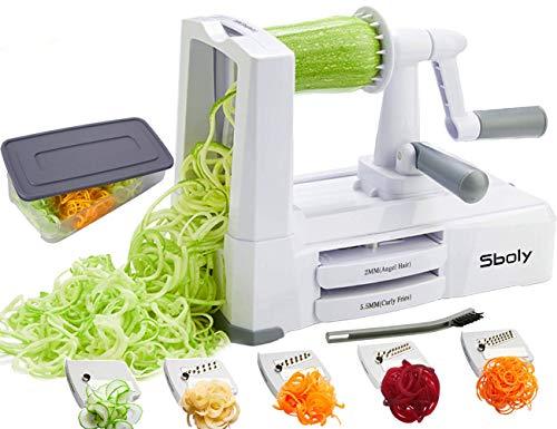 Sboly Spiralizer per verdure Affettatrice di verdure con 5 lame, Zucchine Spaghetti Maker Zoodle Maker Creatore di pasta vegetariano, Affettatrice di mandolino più resistente e pesante con contenitore - 1