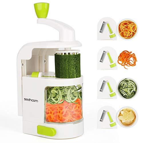 Sedhoom spiralizzatore/Affettatrice di verdure verticale con 4 lame per tagliare/affettare frutta e verdure a julienne, migliore Tagliaverdure/Affettaverdure a spirale affetta zucchine spaghetti - 1