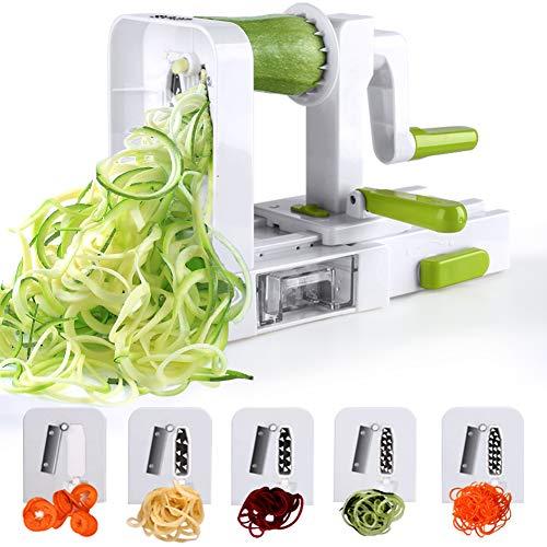 Sedhoom Taglia Verdure/Affetta Verdure a Spirale con 5 Lame, spiralizzatore/Affettatrice Verdure da Cucina.Tagliare/affettare/spaghettizare per Gli Spaghetti di Verdure(zucchine,Cetriolo) - 1