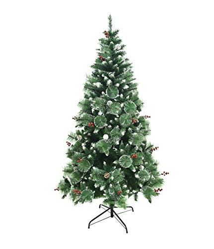 Shinefuture Albero di Natale Artificiale con pigne, 180/210 cm, Punte Appuntite e Abete Artificiale con Supporto in Metallo, Albero di Natale di Alta qualità (180cm con Le pigne) - 1