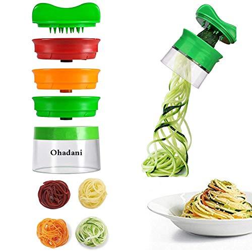 Spiralizzatore manuale per spaghetti di verdura, 3lame, per verdure e ortaggi come carote, zucchine, cetrioli ecc. - 1