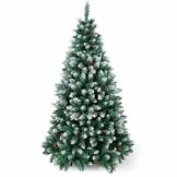 SunJas - Albero di Natale Artificiale con pigne, 120/150/180/210 cm, Punte Appuntite e Abete Artificiale con Supporto in Metallo, Albero di Natale di Alta qualità, pigne (120CM) (120CM) (150CM) - 1