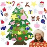 TATAFUN Albero di Natale in Feltro, Alberi di Natale 25 Ornamenti Staccabili Regali di Natale per Bambini 3.67FT DIY Albero Natale di Decorazione della Parete del Portello - 1