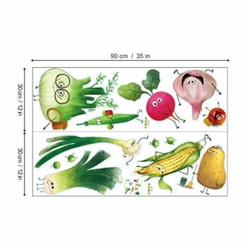 ufengke Adesivi Murali Verdure Adesivi Muro DIY Carota Cipolla per Cucina Sala da Pranzo Frigorifero Decorazioni Parete - 2