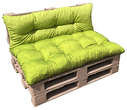 VALOREITALIA Cuscino per BANCALE Unito Seduta + Schienale 80X120 + 40X120 Misure EUR EPAL Pallet (Verde Chiaro) - 1