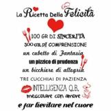 """VINFUTUR Adesivi da Parete Italiano Adesivi Murali Wall Stickers """"La Ricetta della felicità"""" Decorazione DIY per Parete Muro Fai da Te Wallpaper - 1"""