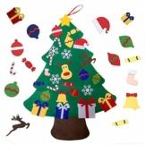 Viviyi - Albero di Natale in feltro, 26 decorazioni rimovibili fai da te, decorazione per la parete della porta per bambini, regalo di Capodanno (verde) - 1