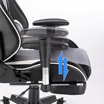 EUGAD Sedia da Gaming Gioco Poltrona da Ufficio Ergonomica con Cuscini Lombare Poggiapiedi Schienale Reclinabile di Similpelle Nero+Bianco 0021BGY - 6