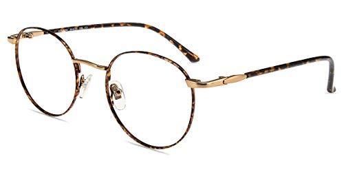 Firmoo Occhiali Filtro Luce Blu per Computer Antiriflesso e Anti Affaticamento degli Occhi, Occhiali da Vista con Montatura Rotonda in Metallo Retrò Unisex(Tartaruga Oro) - 1