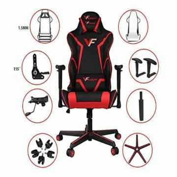 Guotail Gaming Massage Chair con poggiapiedi Sedia da Ufficio con Massaggio Lombare Supporto Girevole Sedia in Pelle da Corsa Stile bracciolo PU Schienale Alto Schienale reclinabile Support - 2