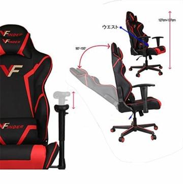 Guotail Gaming Massage Chair con poggiapiedi Sedia da Ufficio con Massaggio Lombare Supporto Girevole Sedia in Pelle da Corsa Stile bracciolo PU Schienale Alto Schienale reclinabile Support - 6