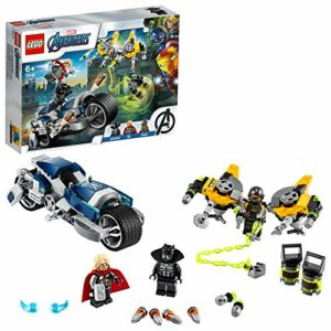 LEGO SuperHeroes Avengers-AttaccodellaSpeederBike, Playset con Minifigure della Pantera Nera e Thor, 76142 - 1