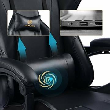 LUCKRACER Sedia Gaming Ufficio da Scrivania con Massaggio Poltrona Ergonomica Sedie da Gaming Girevole con Rotelle, Altezza Regolabile e Supporto Lombare, Nero - 2