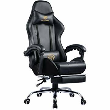 LUCKRACER Sedia Gaming Ufficio da Scrivania con Massaggio Poltrona Ergonomica Sedie da Gaming Girevole con Rotelle, Altezza Regolabile e Supporto Lombare, Nero - 1