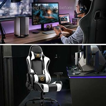LUCKRACER Sedia Gaming Ufficio da Scrivania Poltrona Ergonomica Sedie da Gaming Girevole con Rotelle, Altezza Regolabile e Supporto Lombare, Bianco - 5