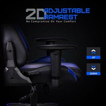 MARTUNIS - Sedia da gioco con braccioli regolabili, sedia da scrivania, sedia da gioco per lo sport, sedia da ufficio reclinabile in pelle PU, sedia girevole con cuscino lombare e poggiatesta (blu) - 2