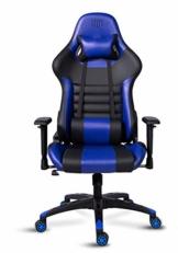 MARTUNIS - Sedia da gioco con braccioli regolabili, sedia da scrivania, sedia da gioco per lo sport, sedia da ufficio reclinabile in pelle PU, sedia girevole con cuscino lombare e poggiatesta (blu) - 1