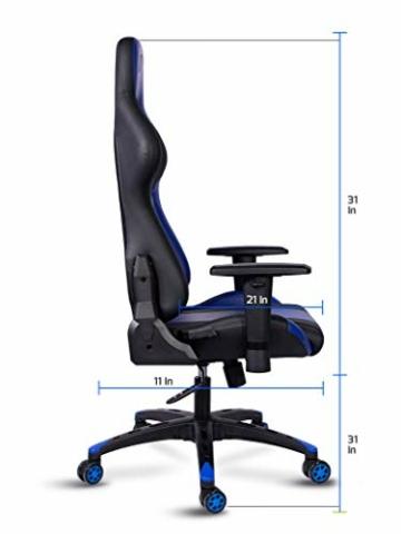 MARTUNIS - Sedia da gioco con braccioli regolabili, sedia da scrivania, sedia da gioco per lo sport, sedia da ufficio reclinabile in pelle PU, sedia girevole con cuscino lombare e poggiatesta (blu) - 3