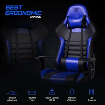 MARTUNIS - Sedia da gioco con braccioli regolabili, sedia da scrivania, sedia da gioco per lo sport, sedia da ufficio reclinabile in pelle PU, sedia girevole con cuscino lombare e poggiatesta (blu) - 4