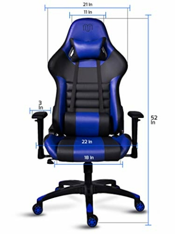 MARTUNIS - Sedia da gioco con braccioli regolabili, sedia da scrivania, sedia da gioco per lo sport, sedia da ufficio reclinabile in pelle PU, sedia girevole con cuscino lombare e poggiatesta (blu) - 5