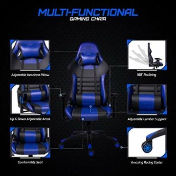 MARTUNIS - Sedia da gioco con braccioli regolabili, sedia da scrivania, sedia da gioco per lo sport, sedia da ufficio reclinabile in pelle PU, sedia girevole con cuscino lombare e poggiatesta (blu) - 6