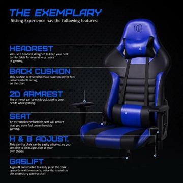 MARTUNIS - Sedia da gioco con braccioli regolabili, sedia da scrivania, sedia da gioco per lo sport, sedia da ufficio reclinabile in pelle PU, sedia girevole con cuscino lombare e poggiatesta (blu) - 9