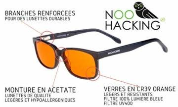 NOOHACKING® - Occhiali anti luce blu, filtro 100% – Anti fatica e protezione degli occhi contro la luce artificiale, ideale per il sonno (insonnia) / Biohacking/Gamers (52-18-135, nero) - 9