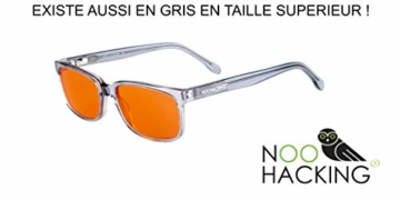 NOOHACKING® - Occhiali anti luce blu, filtro 100% – Anti fatica e protezione degli occhi contro la luce artificiale, ideale per il sonno (insonnia) / Biohacking/Gamers (52-18-135, nero) - 2