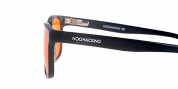 NOOHACKING® - Occhiali anti luce blu, filtro 100% – Anti fatica e protezione degli occhi contro la luce artificiale, ideale per il sonno (insonnia) / Biohacking/Gamers (52-18-135, nero) - 3
