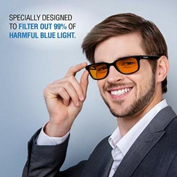 NOOHACKING® - Occhiali anti luce blu, filtro 100% – Anti fatica e protezione degli occhi contro la luce artificiale, ideale per il sonno (insonnia) / Biohacking/Gamers (52-18-135, nero) - 5