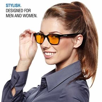 NOOHACKING® - Occhiali anti luce blu, filtro 100% – Anti fatica e protezione degli occhi contro la luce artificiale, ideale per il sonno (insonnia) / Biohacking/Gamers (52-18-135, nero) - 6