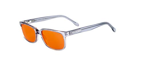 NOOHACKING® - Occhiali anti luce blu, filtro 100% – Anti fatica e protezione degli occhi contro la luce artificiale, ideale per il sonno (insonnia) / Biohacking/Gamers (53-18-140, grigio) - 1
