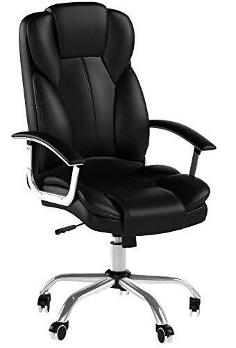 SONGMICS OBG57B Sedia da Ufficio con Sedile Largo, Cuscino Portatesta e Seduta Spessa, Altezza Regolabile, Design Ergonomico, Portata massima 150 kg, Nero - 6