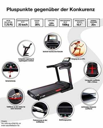Sportstech F48 Tapis roulant Professionale da 10,1 Pollici con Android WiFi 7,75 CV 20 kmh con Supporto Tablet - Cingha Cardio Inclusivo - Pieghevole - 4