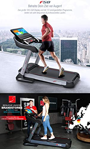 Sportstech - Tapis roulant professionale F50 con display touchscreen Android LCD da 18,5