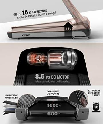 Sportstech Tapis roulant Professionale F65 con Display da 7 Pollici 8,5 PS 25 km/h, Funzione HRC 109 programmi, Superficie di Corsa Extra Large 1600x600mm. - 7