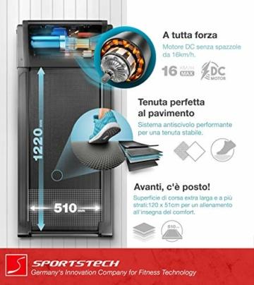 Sportstech Tapis Roulant Ultra Sottile FX300 -Marchio di qualità Tedesco- con Eventi Video e Multiplayer App, Superficie di Corsa Gigante e Senza Montaggio, Fino a 16 km/h - 4