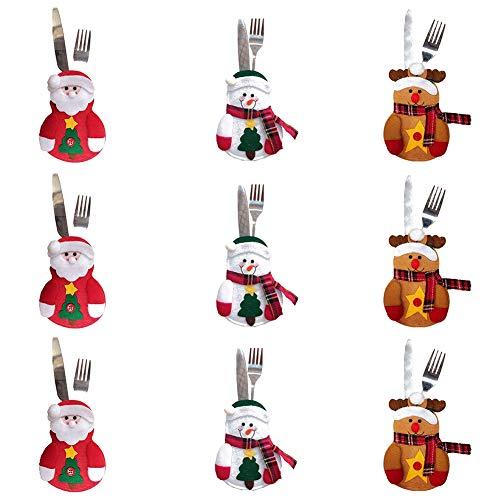 Dove acquistare 9 bustine PCS per posate, tre design Babbo Natale, renne, pupazzo di neve per la tavola delle decorazioni natalizie