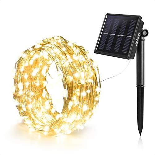 Ankway 8 modalità Decorativo Catene luminose solare Strisce 100LED Solari 12m/39ft, Impermeabili IP65 Luce Bianca Calda per Esterno, Giardino,Patio, Matrimonio e Natale Decorazioni (Bianco Caldo) Per il giardino