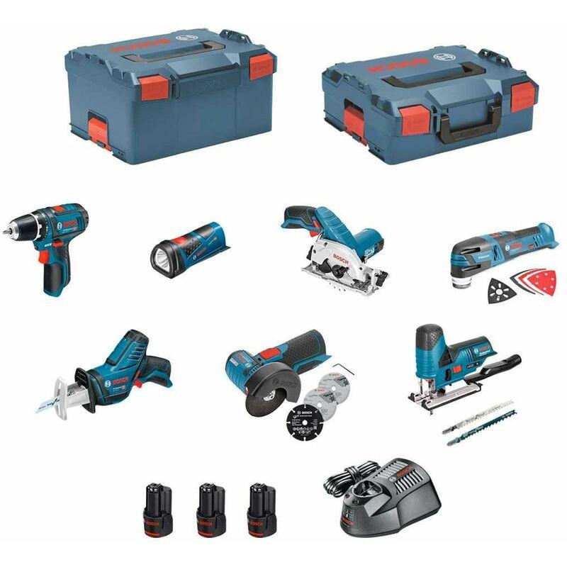 BOSCH Kit 12V BMK7-28AD3 (GSR 12V-15+GKS 12V-26+GWS 12V-76+GST 12V-70+GOP 12V-28+GSA 12V-14+GLI 12V-80+3 x 2,0Ah+GAL1230CV) Bricolage e utensili