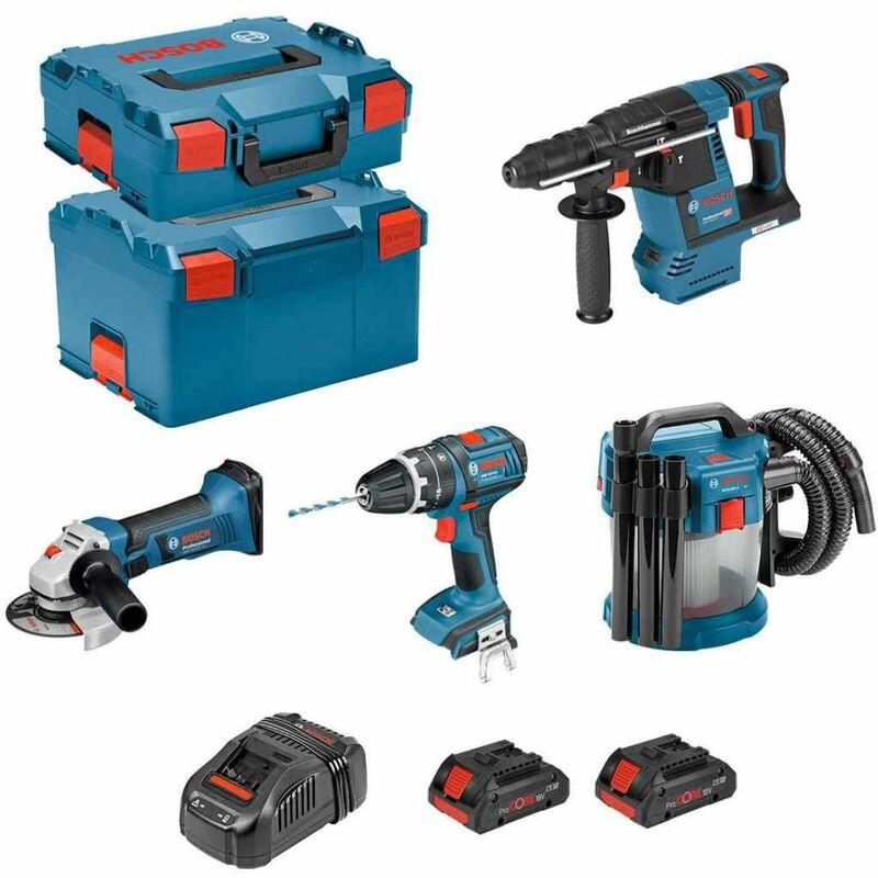 BOSCH Kit PSL4M2CP (GBH 18V-26F + GSB 18V-LI + GWS 18-125V-LI + GAS 18V-10L + 2×4,0Ah ProCORE + GAL1880CV +L-Boxx136 +L-Boxx238) Bricolage e utensili
