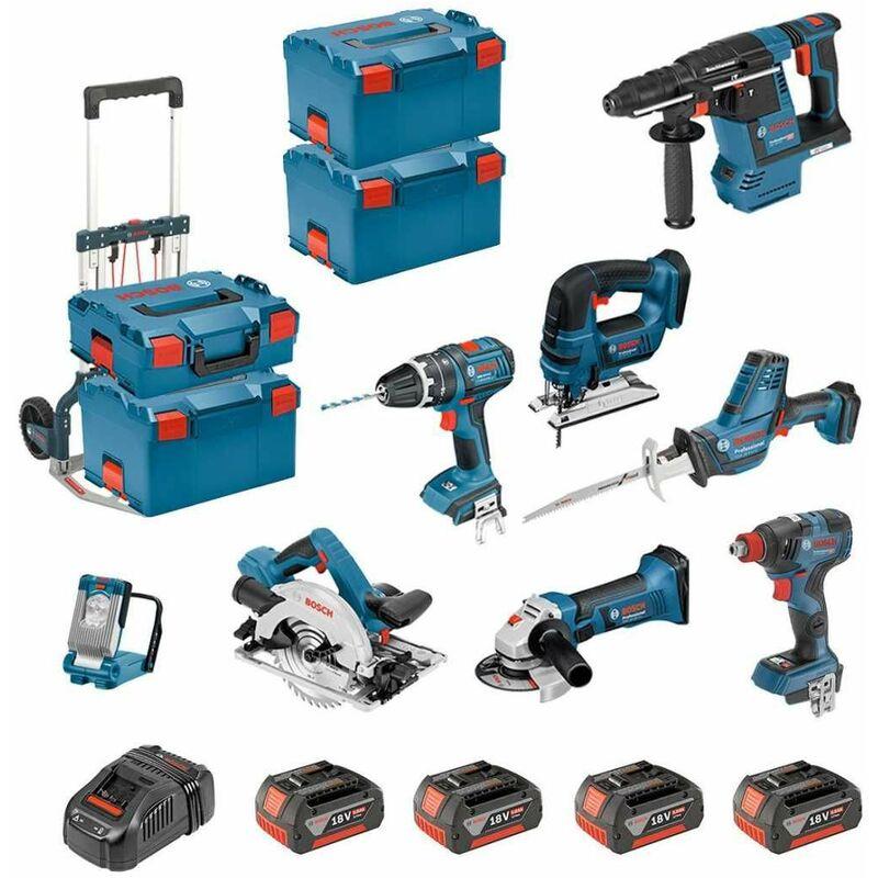 Dove acquistare BOSCH Kit PSL8P4C+Caddy (GST18V-LIB+GKS18V-57G+GDX18V-200C+GBH18V-26F+GSA18V-LIC+GLIVariLED+GSB18V-LI+GWS18-125V-LI+4×5,0Ah…)