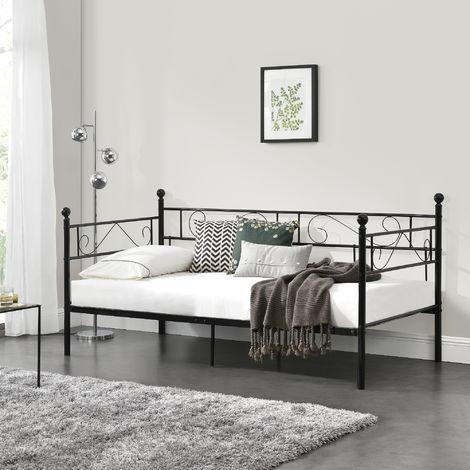 Divano Letto Metallo 200 x 90 cm Sofa Singolo Design Incluso Rete a Doghe Nero Letti