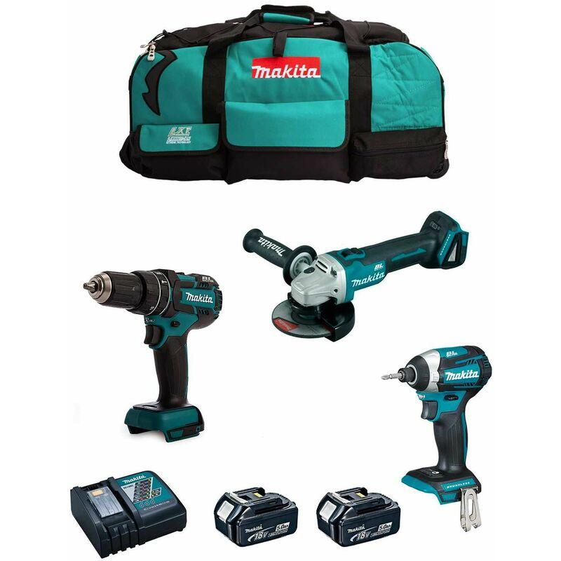 MAKITA Kit 18V MSB3P2A (DGA504 + DTD154 + DHP480 + 2 x 5,0 Ah + DC18RC + Trolley) Bricolage e utensili