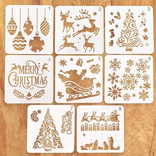 O-Kinee Stencil di Natale, Kit da Disegno per Stencil in plastica Riutilizzabile di Natale, Set di 8 Stencil per La Decorazione di Natale Fai da Te Scrapbooking