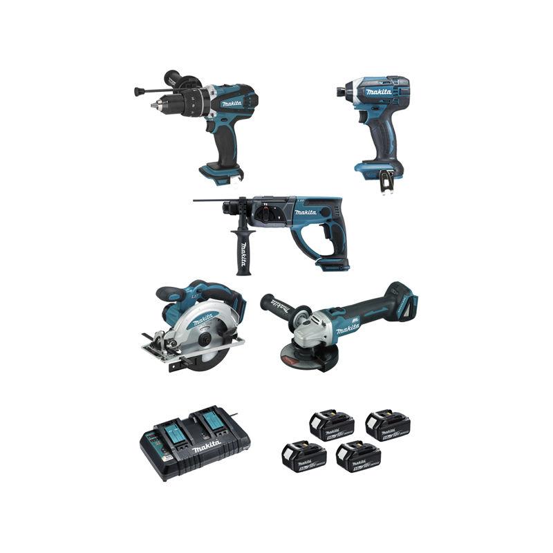 Pack di 5 utensili MAKITA 18V Li-Ion 5.0 Ah – Perforatore-scalpellatore + Avvitatore + Trapano a percussione + Smerigliatrice + Sega circolare -… Bricolage e utensili
