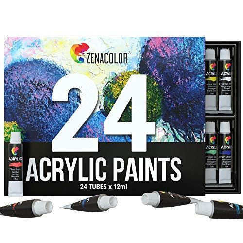 Zenacolor Set da 48 Tubetti di Pittura Acrilica, Colori Acrilici – Confezione da 48 x 12mL Pittura