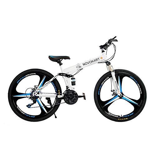 DOMDIL – Mountain Bike Pieghevole per Uomini e Donne Adulti, Bicicletta Sportiva da Montagna, MTB con 21-Stage Shift, 26… Biciclette