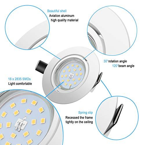 Faretti LED da Incasso per cartongesso,5 W Equivalenti a 60 W, Naturale Bianco Freddo 4500K 600LM orientabili 120 Gradi… Illuminazione