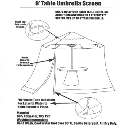 Giardino Esterno zanzariera per ombrellon Zanzariera for ombrellone, schermo all'aperto giardino Ombrellone Tavolo… Casa e giardino